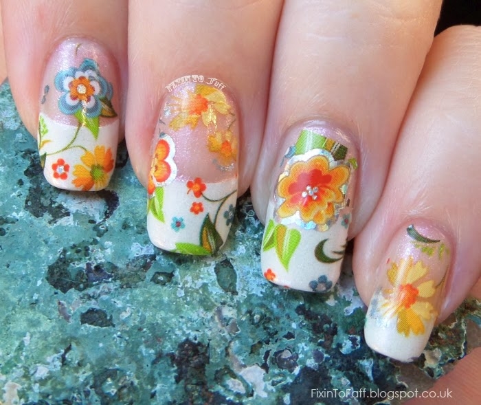 French Tip Floral Foil Negative Space Nail Art
