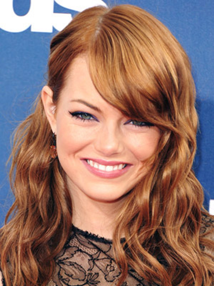 Popular Celebrity Bang Hairstyles Emma Stone