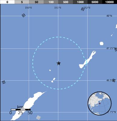 Epicentro sismo 5,7 grados, islas Kuriles, 01 de Enero 2013