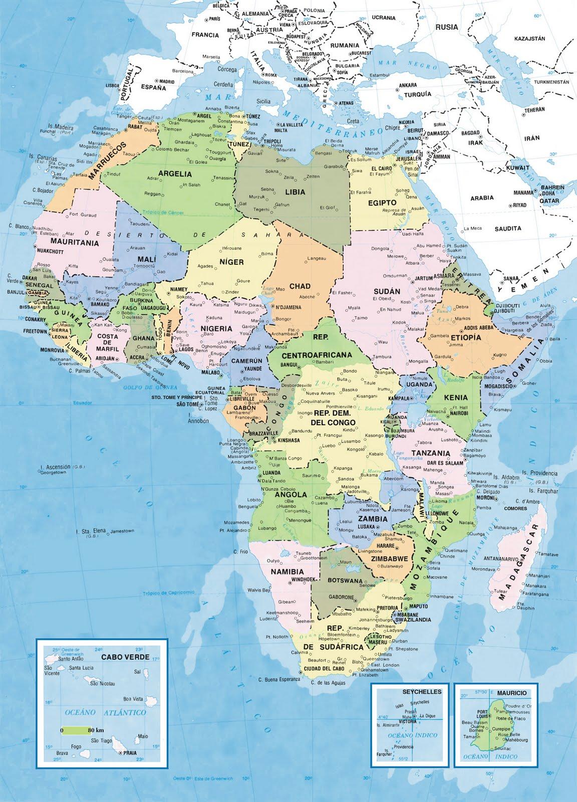 Mapas de África: mapas políticos, mapas en blanco, mapas curiosos