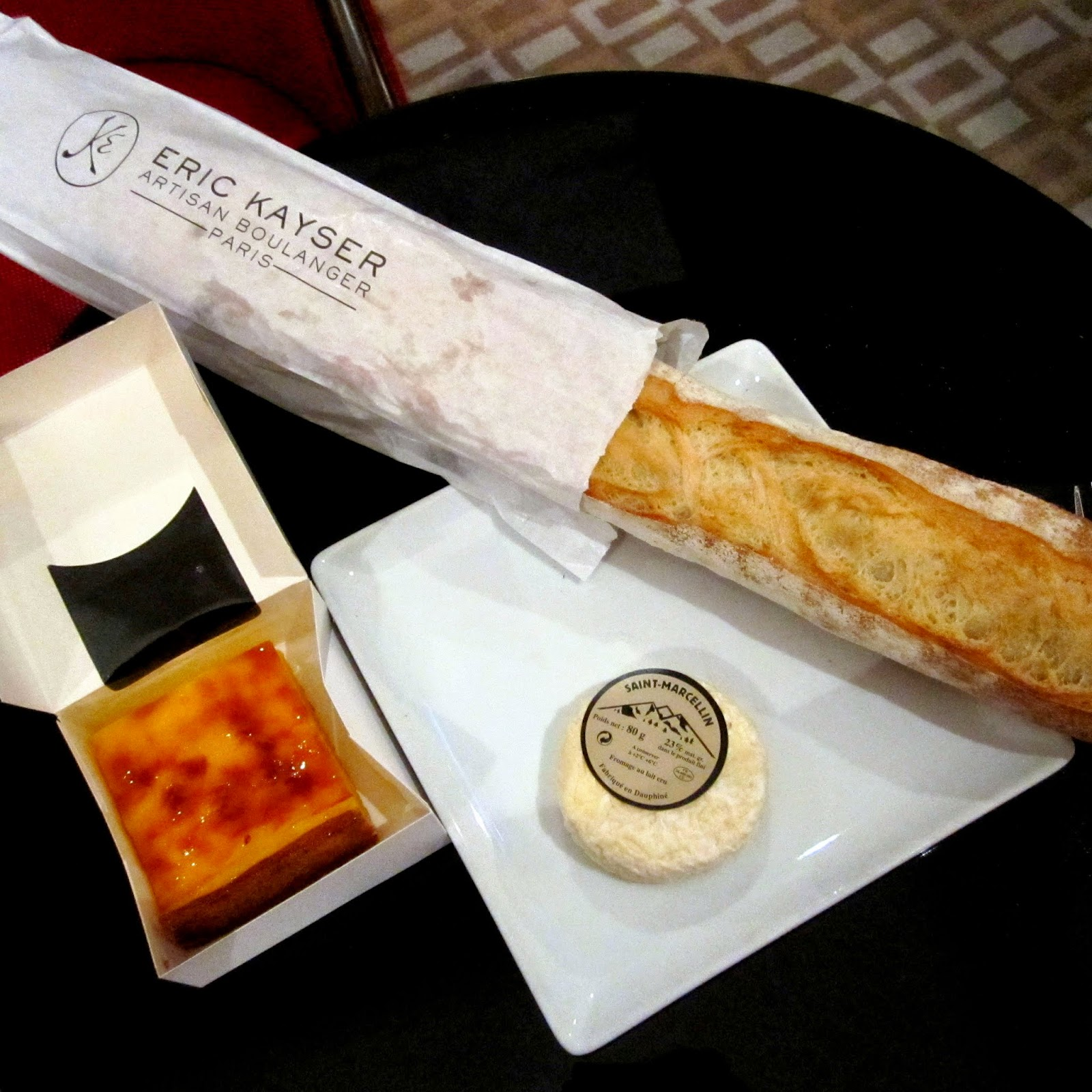 cheese, baguette, flan, paris, dinner, eric kayser