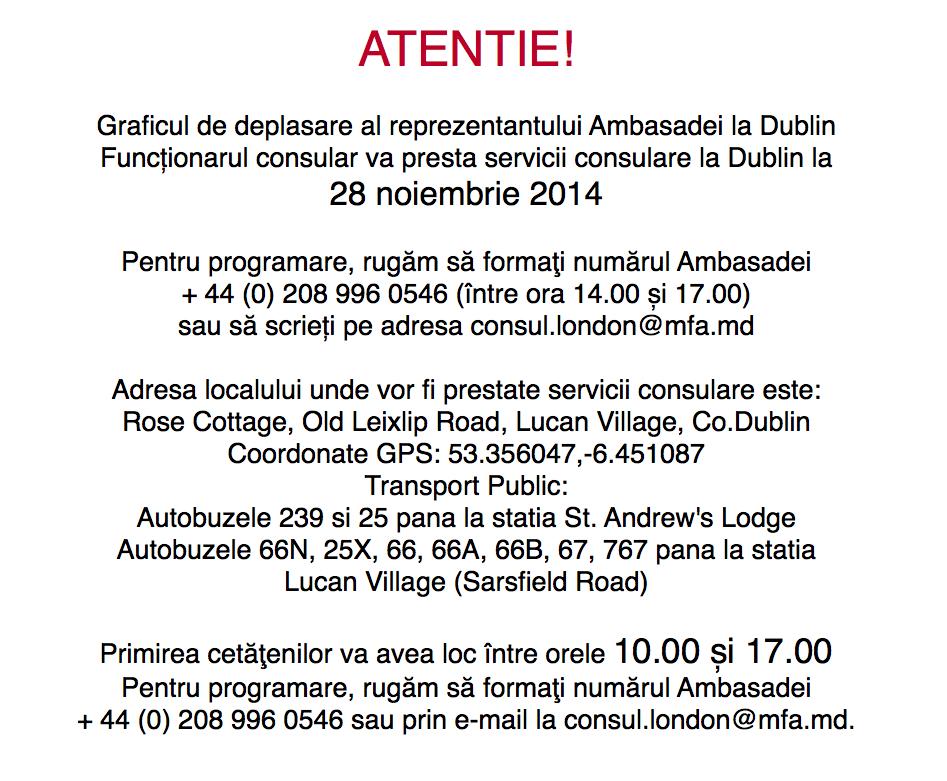 Servicii Consulare la Dublin 28 Noiembrie 2014