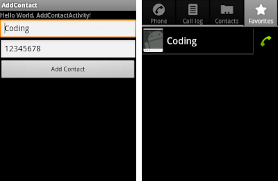Add contact using Contacts content provider