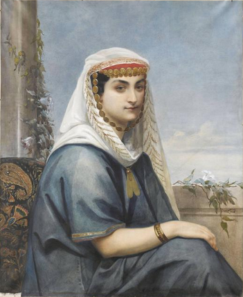 Jeune femme en costume d'albanaise