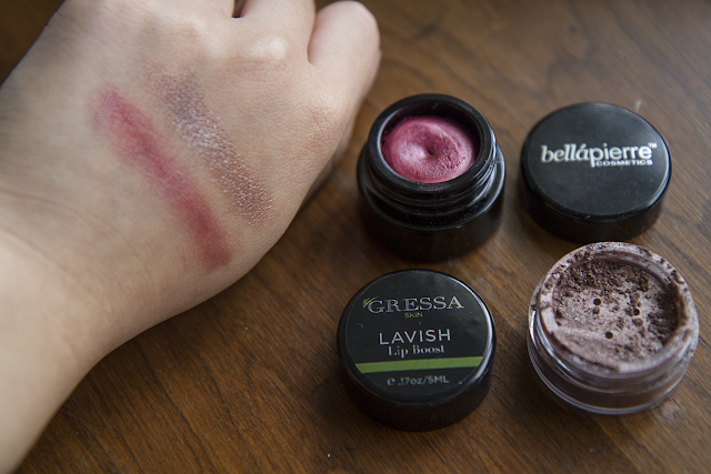 Photo of swatches of Gressa lip boost in Lavish and Bellapierre shimmer powder in Harmony.