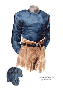 1923 University of Michigan Wolverines football uniform original art for sale