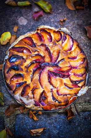 Plum, buttermilk & almond cake
