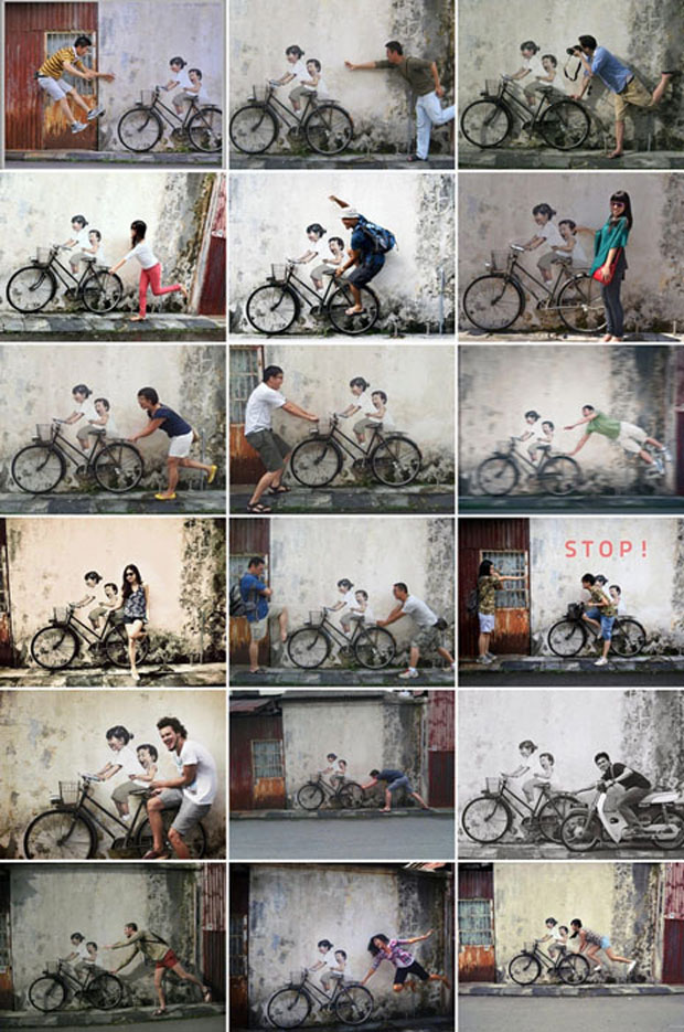mural,calle,Interactive,Paintings,Ernest Zacharevic,George Town,Penang,Malasia, street artist, wall pictures,niño,niña,boy,girl,bicicleta,children,bicycle,interact, Facebook