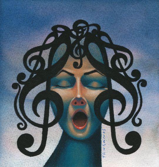 Jim Tsinganos ilustrações surreais oníricas natureza revista Cabelos notas musicais