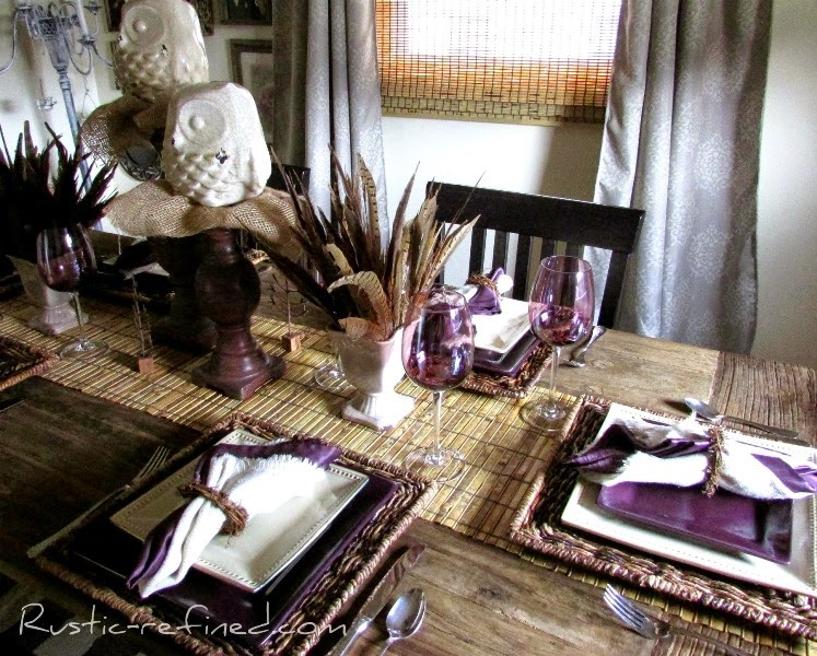 Summer Tablescape using feathers owls and a love for purple.