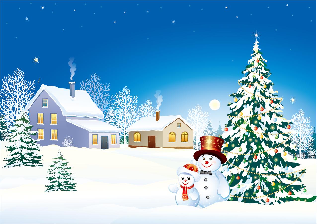 雪だるまとクリスマス・ツリーの背景 vector christmas snow イラスト素材 ai eps