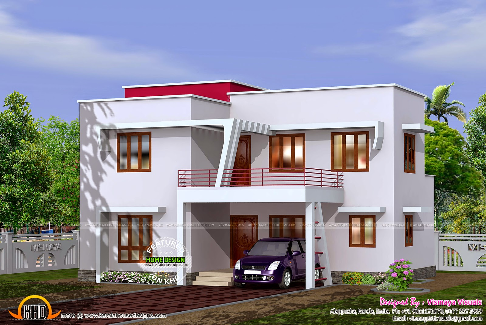 4 bedroom flat roof villa kerala home design and floor plans for Flat roof home plans