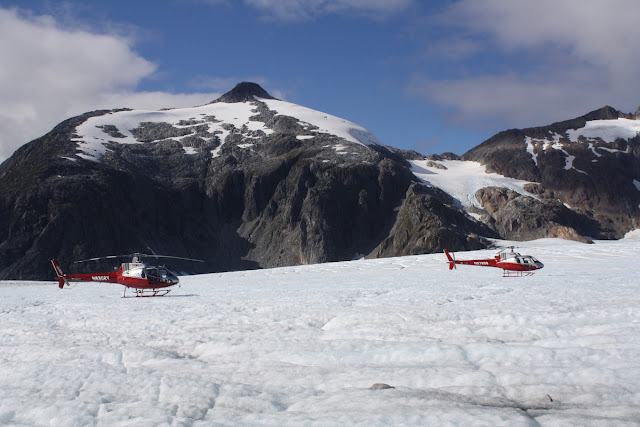 Temsco Helicopters on Mendenhall Glacier with Mountains