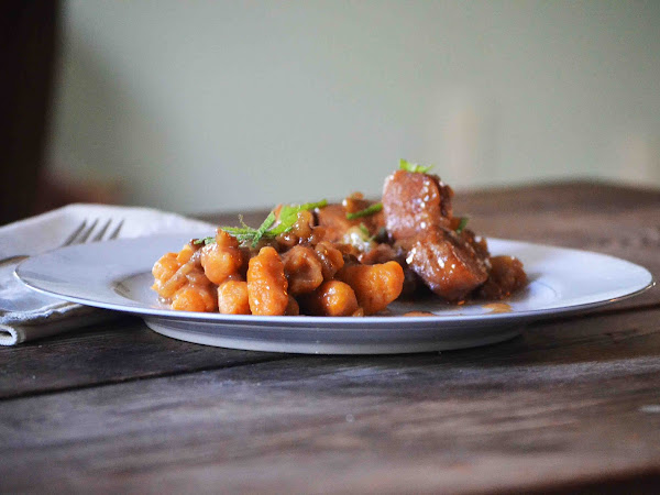 Braised Maple Walnut Chicken and Apples with Sweet Potato Gnocchi