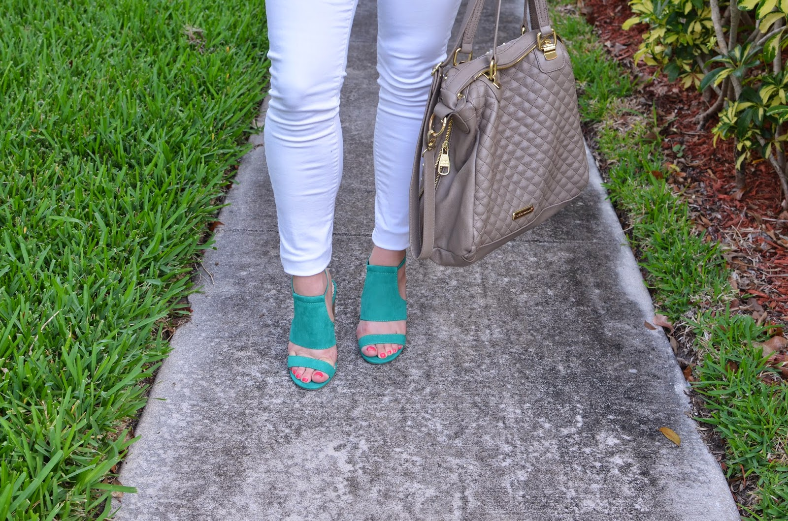 White pants - radiant orchid top - colorful sandals - Emma & sophia
