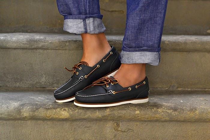 scarpe da barca blu