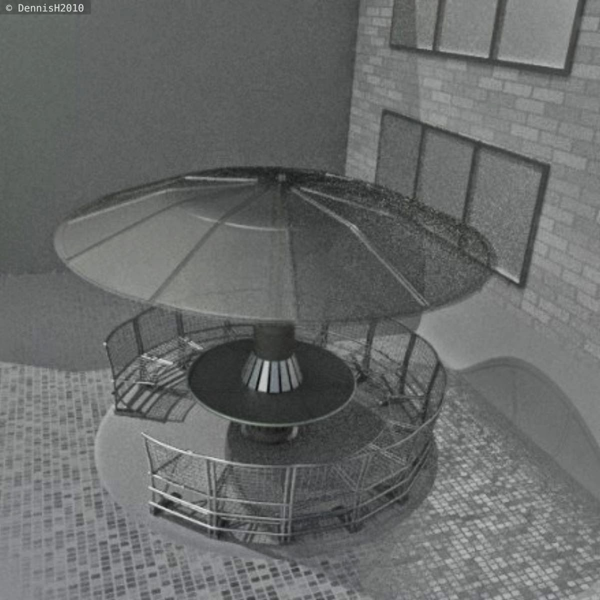 A round bench made of stainless steel with a rigged rain/sun protection by DennisH2010