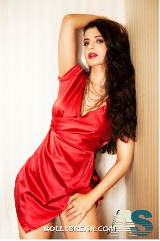 amisha Patel in hot Red Nighty  - (4) - Amisha patel Red Nighty Pics