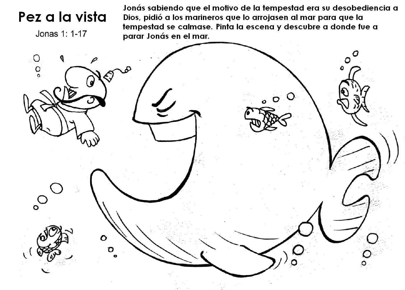 Hermosa Jonás Y La Ballena Para Colorear Embellecimiento - Dibujos ...
