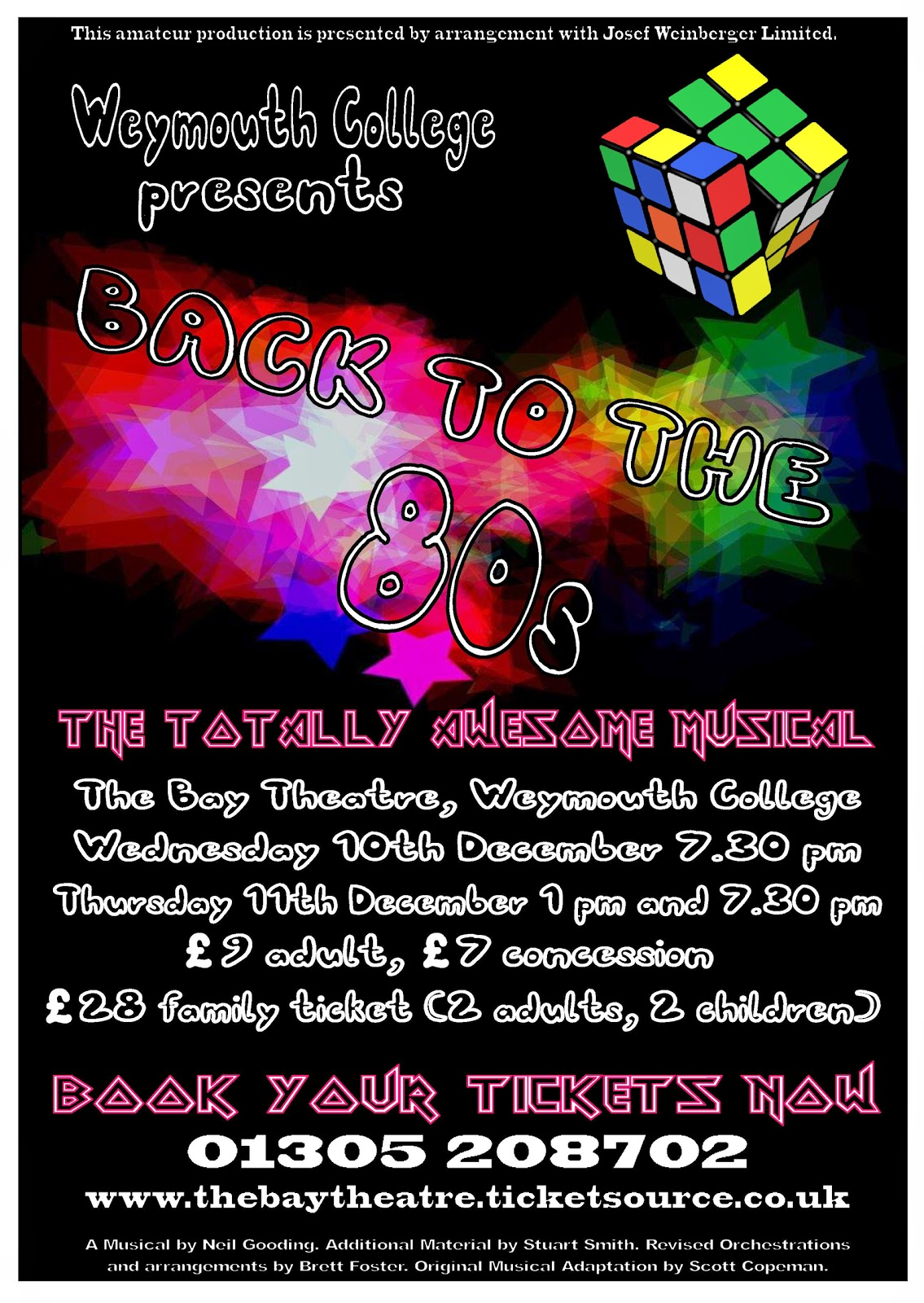 Weymouth College Presents Back to the 80's Musical 10th 11th Dec 2014