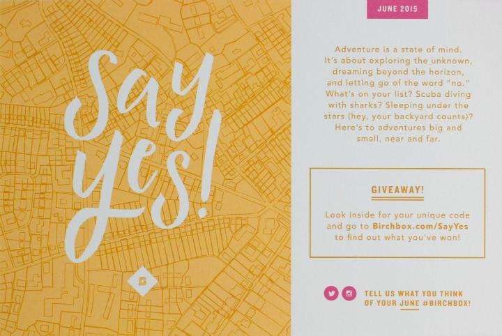 Birchbox June 2015: Adventure Is A State of Mind/Say Yes info card