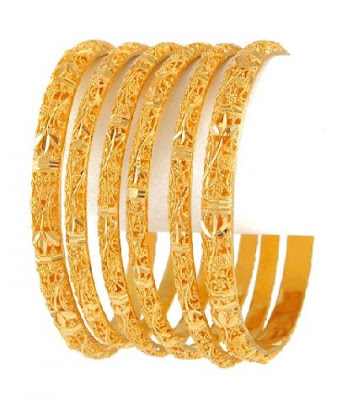 Latest Trend Bridal Gold Diamonds Bangles 2013 - Gold Design