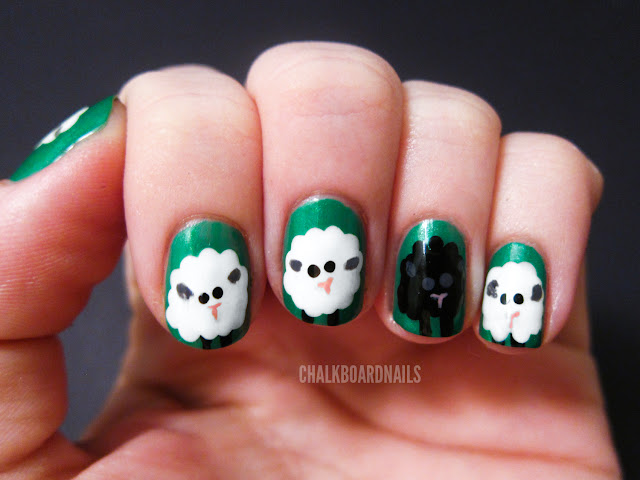 sheep nail art    tutorial