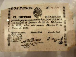 Durante el imperio este papel moneda era validado por un sello papal en el reverso.