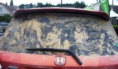गाडीच्या धुळी वर काढलेली चित्रे Car Dust Art