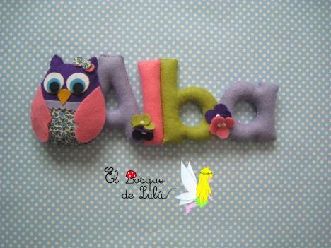 Nombre-decorativo-de-fieltro-en-fieltro-Alba-buho-regalo-personalizado-regalo-de-bienvenida-nacimiento-infantil-decoración
