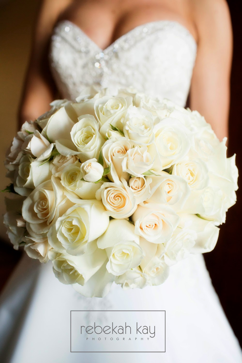 rebekah kay photography : les fleurs : fall wedding : white bridal bouquet : rose bouquet