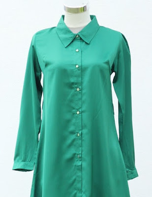 model baju kemeja muslimah warna hijau terbaru 2015