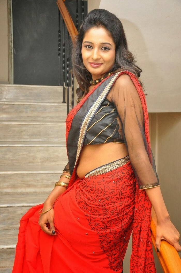 Actress Amitha Rao  Pictures in Saree at Chandamama Kathalu Movie Press Meet 0064.jpg