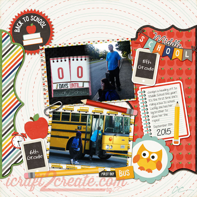 First Day of School, Middle School, 2015, SVGCuts.com, Lettering Delights, Lori Whitlock, Photoshop, Digital, Scrapbooking, Fall, Autumn