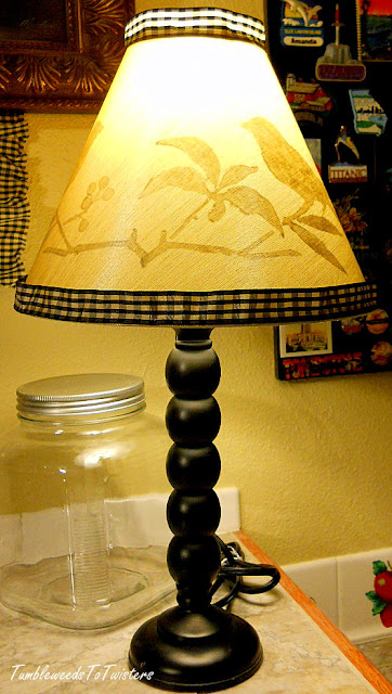 peek-a-boo lampshade with tea stained checkered trim