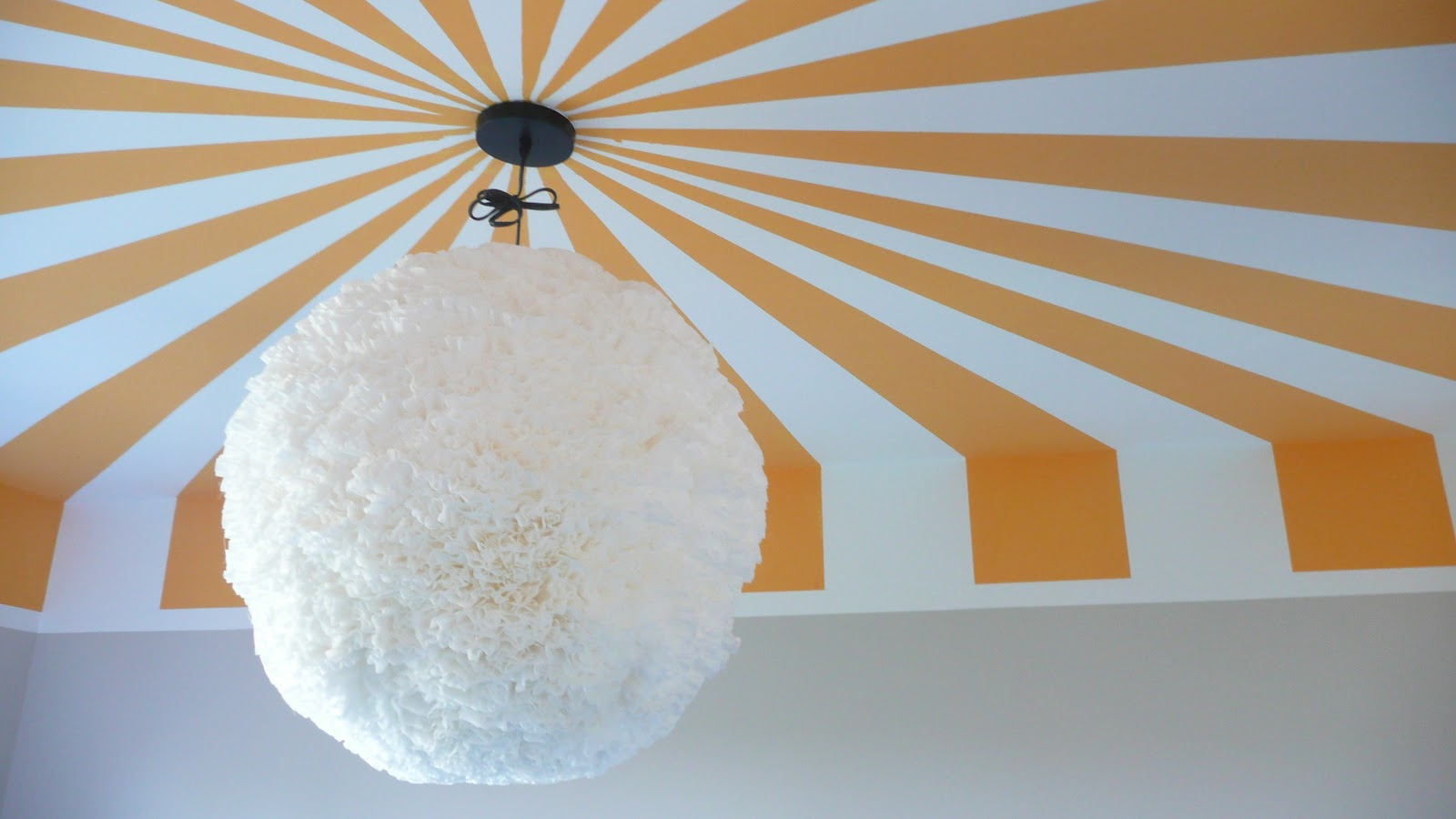 Viva cindy fluffy chandelier for the nursery a how to for Painting on ceiling