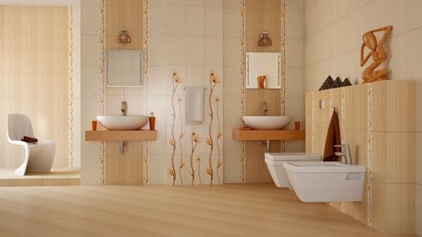 Baños Beige Con Blanco:Baño decorado con cerámica en beige y blanco en iguales proporciones