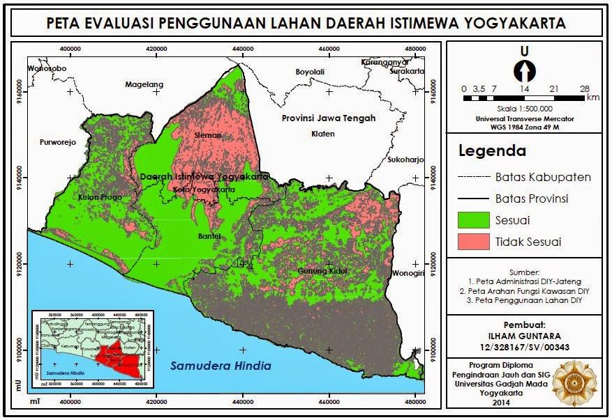Peta Evaluasi Penggunaan Lahan Daerah Istimewa Yogyakarta www.guntara.com