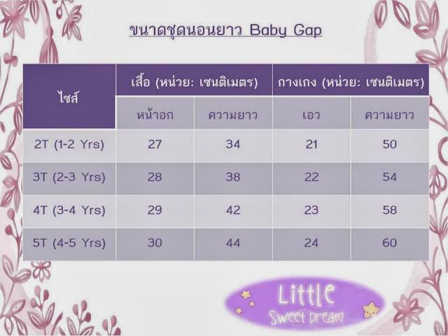 LittleSweetDream - ขนาดชุดนอน Baby Gap