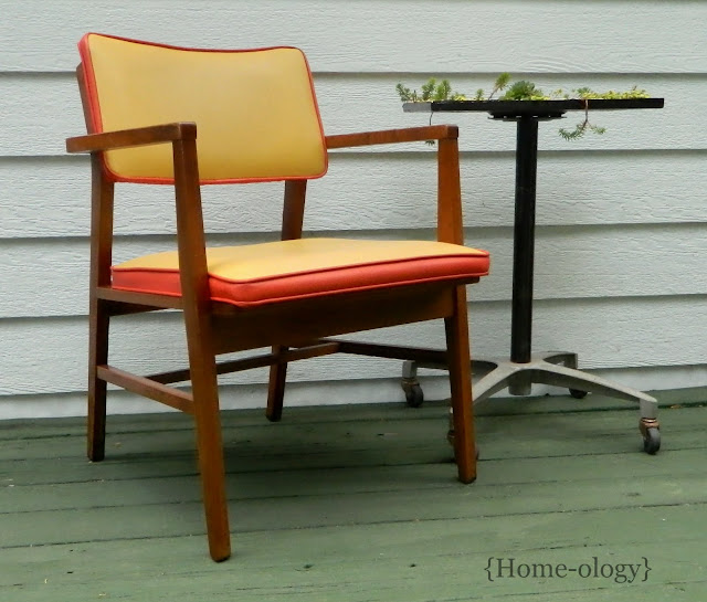 danish modern chair in gold and orange