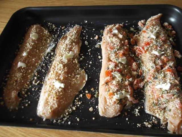 Trota salmonata gratinata preparazione