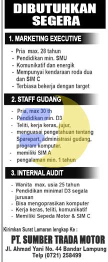 Lowongan Kerja Dealer Motor KAWASAKI Lampung