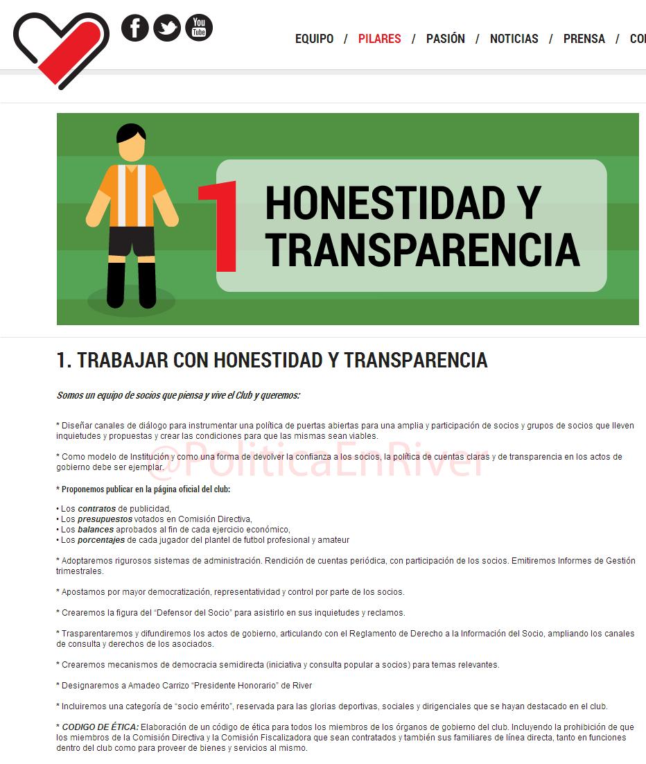 Rodolfo D'Onofrio, Campaña, Pilar N°1, Honestidad y Transparencia, Transparencia,