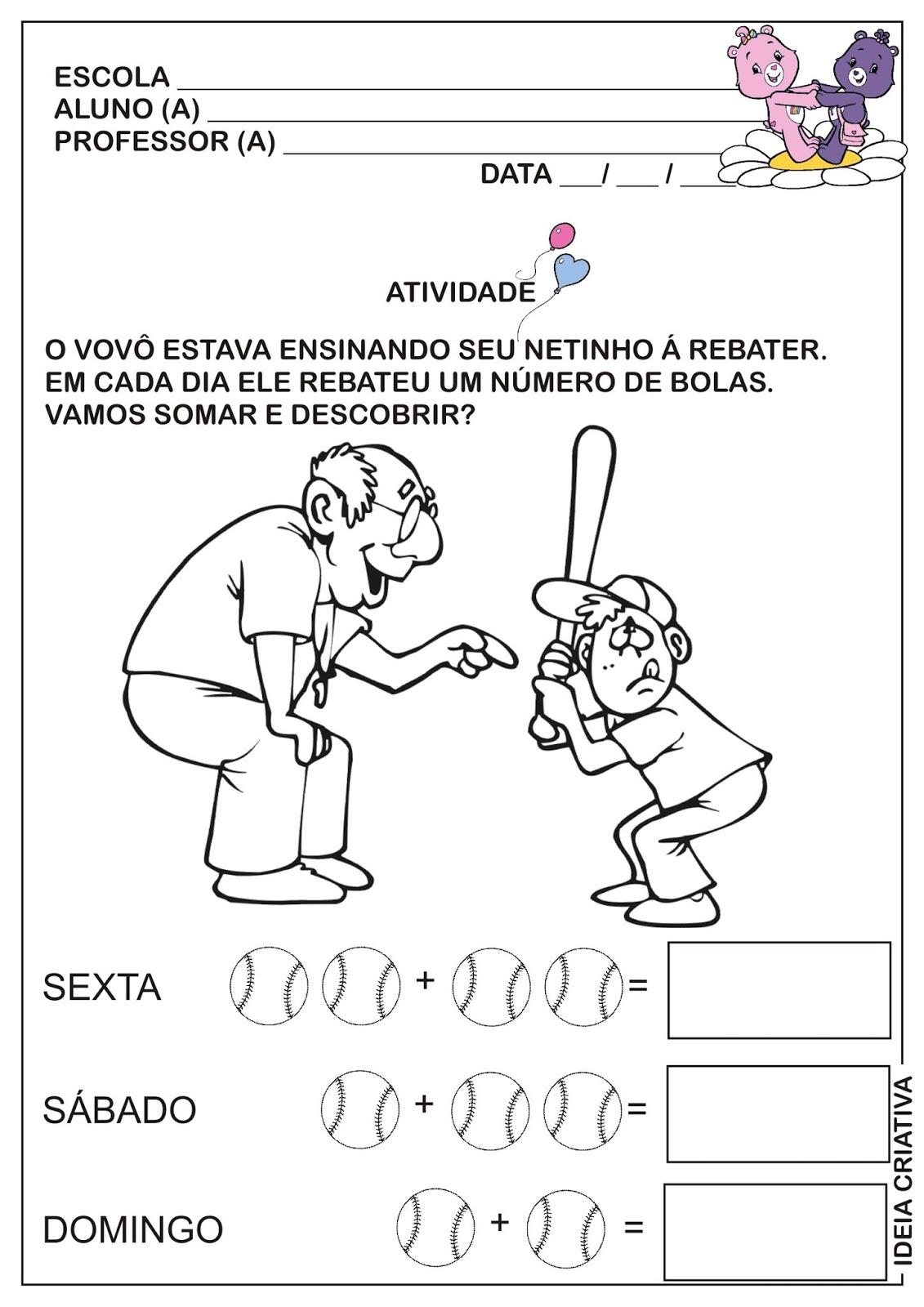 Muito Atividade Matemática Dia dos Avós Beisebol | Ideia Criativa - Gi  OG94
