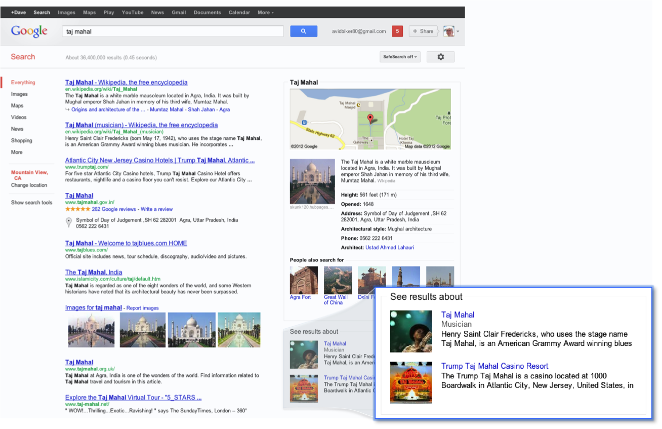 Google Knowledge Graph Taj Mahal Example