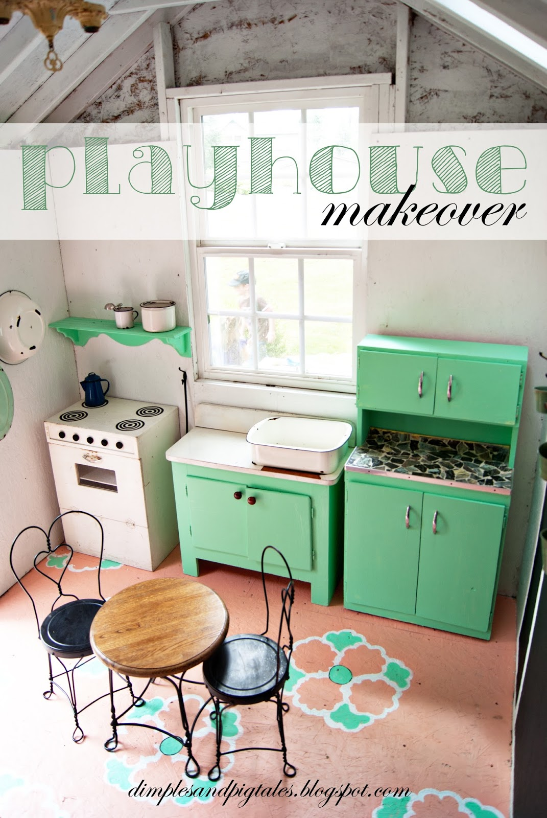Tiny Playhouse with mint green cabinets, coral painted floor , chalkboard wainscoting and vintage accessories.
