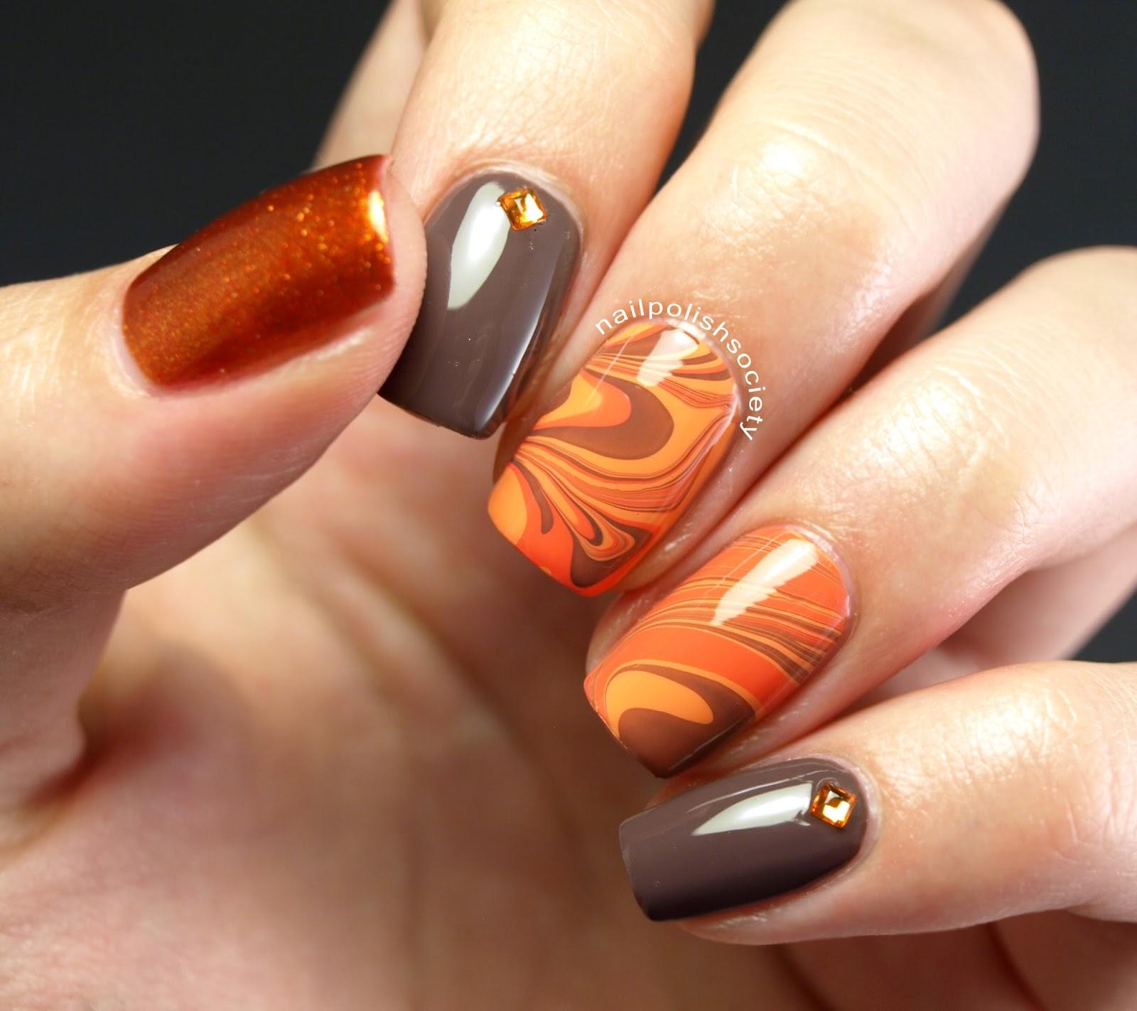 Last Autumn Nail Art Of The Year: Nail Polish Society: 31DC2014 Day 02: Orange Autumn Water