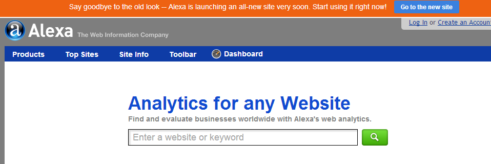 Alexa is Launching All New Site Soon Message