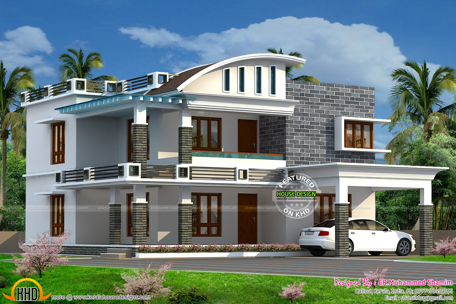 Curved Roof Mix House In 2322 Sq Ft Kerala Home Design