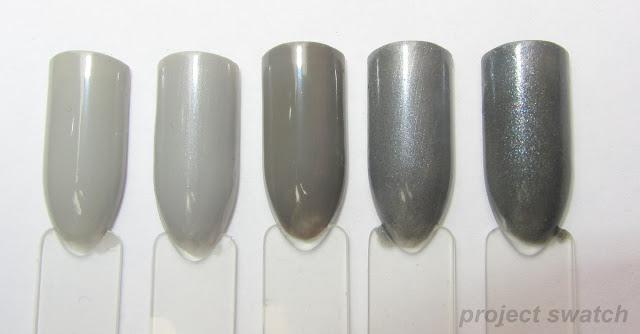 Zoya Dove, China Glaze Pelican Gray, Sinful Colors Jungle Trail, Sinful Colors Slate, China Glaze Immortal